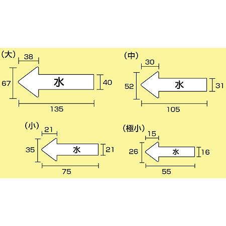 ■寸法図(mm)/JIS配管識別方向ステッカー