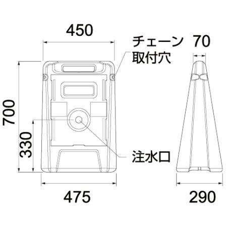 サインボックスの寸法図(単位:mm)