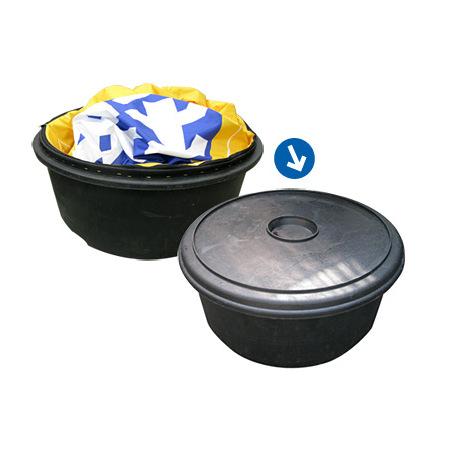 バルーン(別売)は、エアー看板本体に収納できます。しぼんだバルーンはそのままエアー看板に取り付けた状態で問題ありません。
