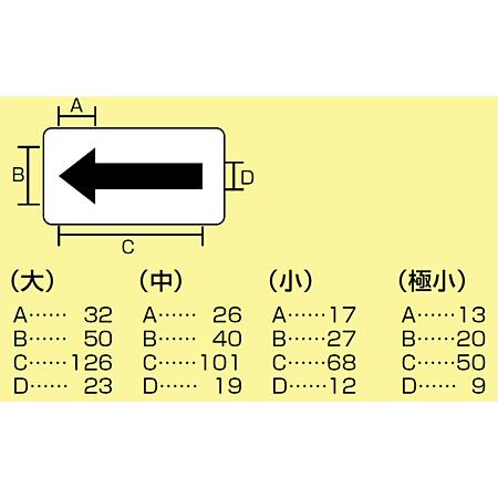 ■寸法図2/JIS配管識別方向ステッカー 角型