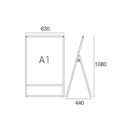 ■A1サイズ・片面の寸法図
