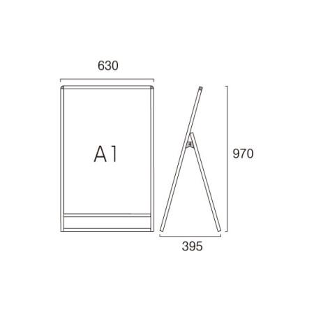 ■A1ロータイプ・片面の寸法図