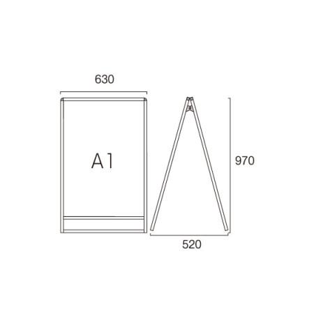 ■A1ロータイプ・両面の寸法図