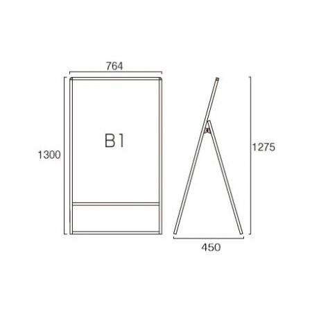 ■B1サイズ・片面の寸法図