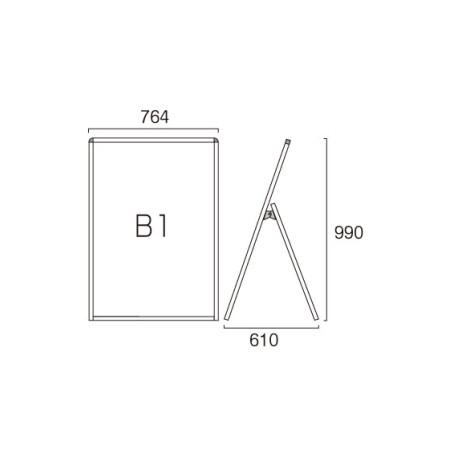 ■B1ロータイプ・片面の寸法図