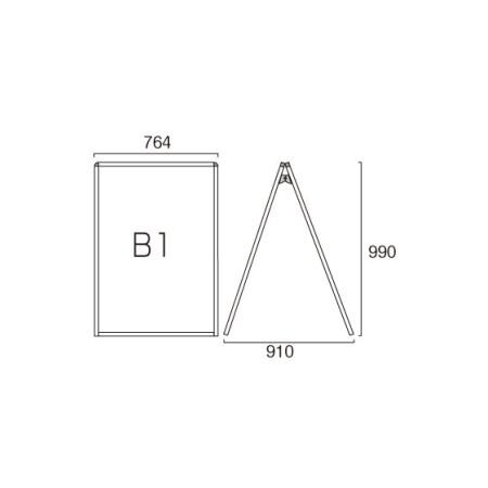 ■B1ロータイプ・両面の寸法図