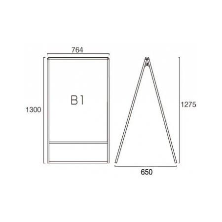 ■B1サイズ・両面の寸法図