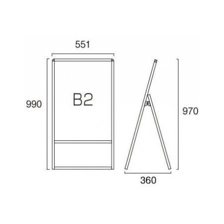 ■B2サイズ・片面の寸法図