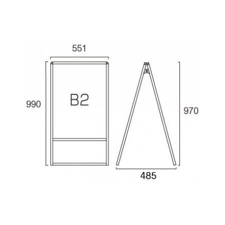 ■B2サイズ・両面の寸法図