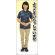 ようこそ 女性ポロシャツ(紺/チノパン) 等身大バナー 素材:ポンジ(薄手生地) (62294)