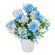アレンジフラワー ブルー系ポット (造花) 高さ23cm 光触媒 (554A20)