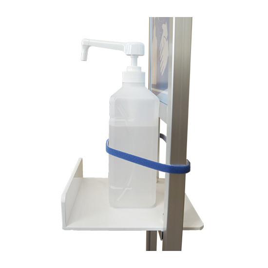 ■重みのあるボトルをご使用の際にはテーブル奥側に固定していただくことを推奨いたします。※消毒液・青色テープは付属しておりません。