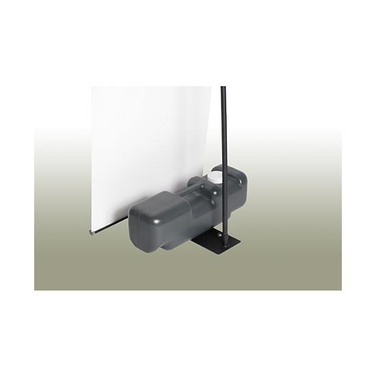■ベースがスチール板で安定性抜群!ベースの上には注水タンク等の重し(別売)を乗せることができます