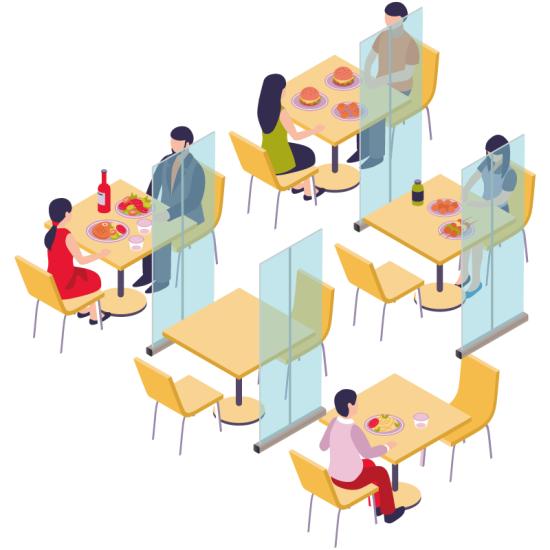 ■飲食店やフードコートのテーブル同士の間仕切りとして。