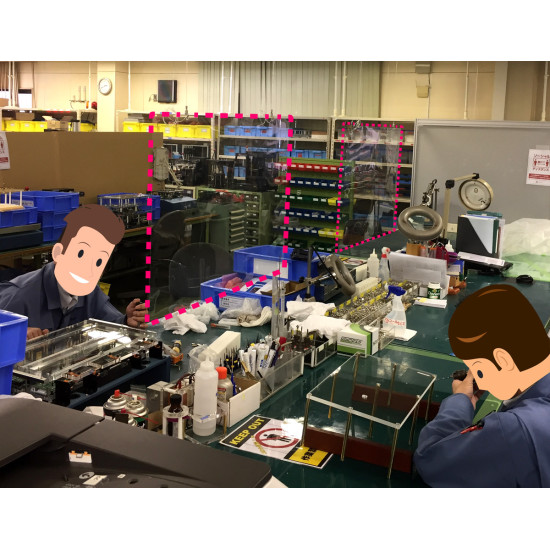 製造業の現場にも。作業者間での飛沫感染防止に役立ちます。※写真はA1サイズです。