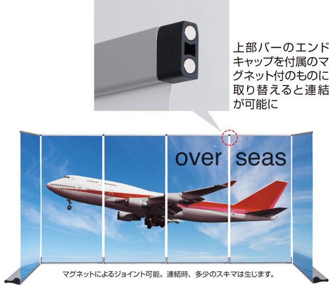 連結例:上部バーのエンドキャップを付属のマ グネット付のものに取り替えると連結が可能になります。※連結時多少のスキマ(30〜35mm)は生じます。