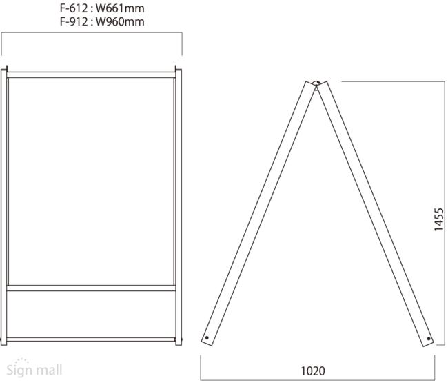 ■F-612とF-912の寸法図