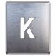吹付け用アルファベットプレート 350×300 表示内容:K (349-25A)