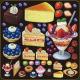 ケーキ・フルーツパフェ 看板・ボード用イラストシール (W285×H285mm)