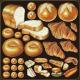 パン(クロワッサン等) 看板・ボード用イラストシール (W285×H285mm)