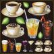 ドリンク(ホットコーヒー・カフェラテ等) 看板・ボード用イラストシール (W285×H285mm)