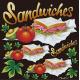 サンドイッチ(1) 看板・ボード用イラストシール (W285×H285mm)