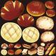 パン(3) 看板・ボード用イラストシール  メロンパン(W285×H285mm)