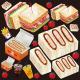 パン(5) 看板・ボード用イラストシール カツサンド(W285×H285mm)