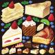 ケーキ(1) 看板・ボード用イラストシール (W285×H285mm)