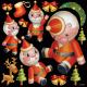 クリスマス サンタキャラクター 看板・ボード用イラストシール (W285×H285mm)