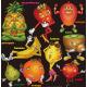 レモン・パイナップル・キウイ・ストロベリー・他  看板・ボード用イラストシール (W285×H285mm)