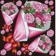 フラワー(1) 看板・ボード用イラストシール バラの花束3つ (W285×H285mm)