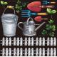 フラワー(7) 看板・ボード用イラストシール 園芸用具(W285×H285mm)