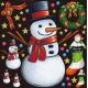 クリスマス 雪だるま 看板・ボード用イラストシール (W285×H285mm)
