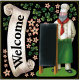 リボン Welcome コック ボード用イラストシール (68536)