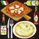 イタリアン(6) マルゲリータ 看板・ボード用イラストシール (W285×H285mm)