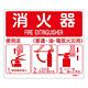 消防標識板 消火器使用法標識 215×250mm 厚み・仕様:0.5mm厚 (066011)
