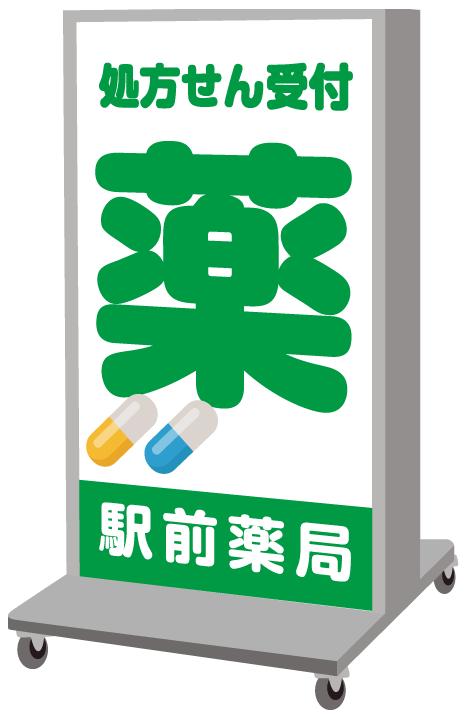 余白を埋める薬局の看板デザイン