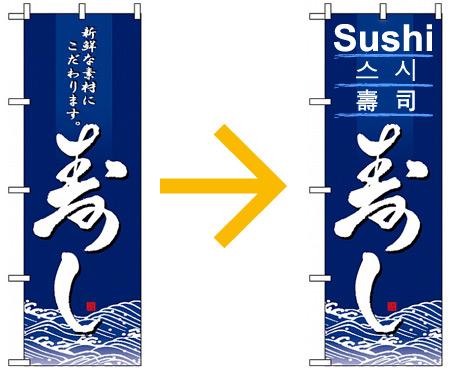 平日は日本語、週末は外国語の場合ののぼり旗の例